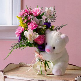 Mixed Flowers and a Bear